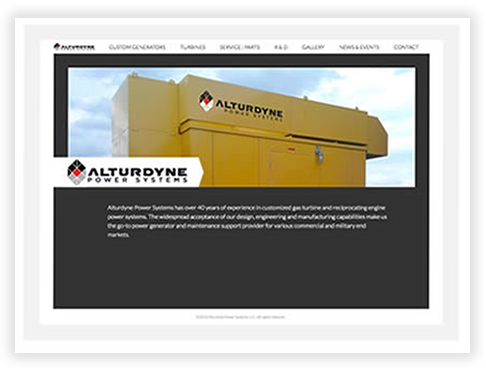 Alturndyne Power System's Custom Brochure Website in Chicago