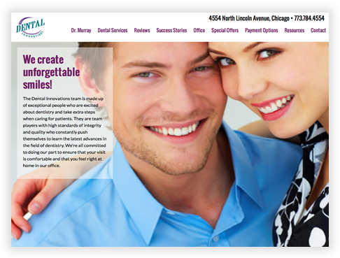 Dental Innovations Custom Brochure Website in Chicago