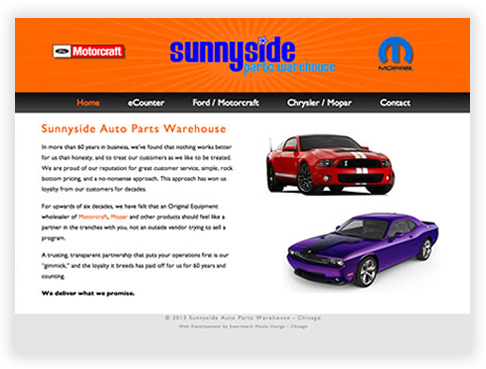Sunnyside Parts Warehouse Custom Brochure Website in Chicago