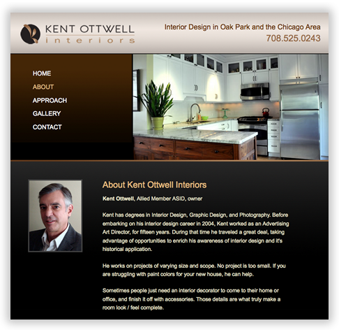 Kent Ottwell Interiors Custom Brochure Website in Chicago