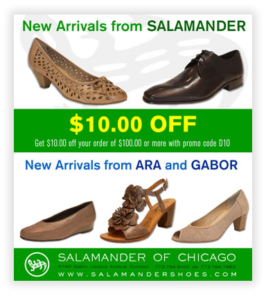 Salamander Shoes of Chicago HTML Emails in Chicago