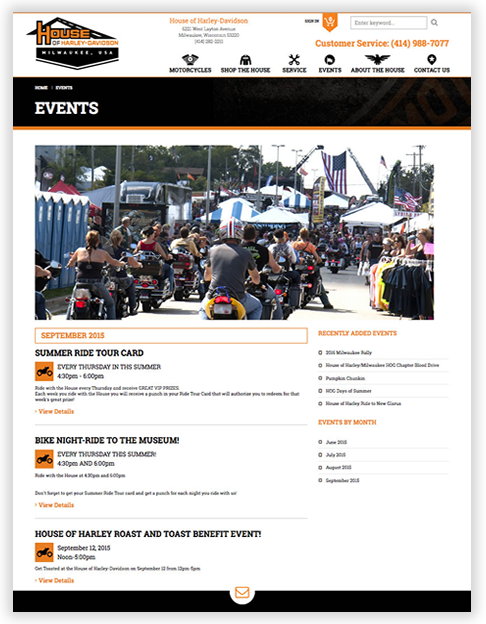 House of Harley-Davidson - Custom WordPress Theme in Milwuakee
