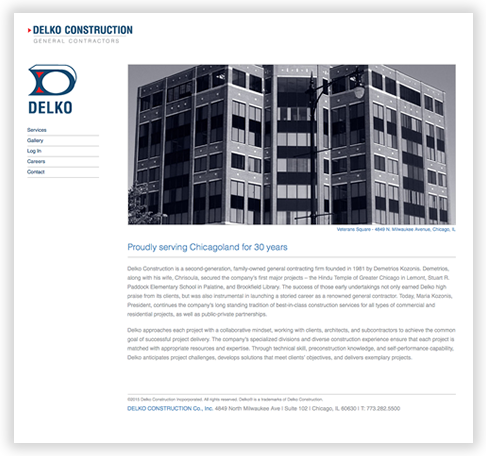 Delko Construction Custom WordPress Theme in Chicago