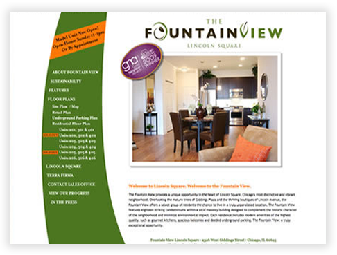 Fountainview in lincoln square chicago custom brochure for Design consultancy chicago